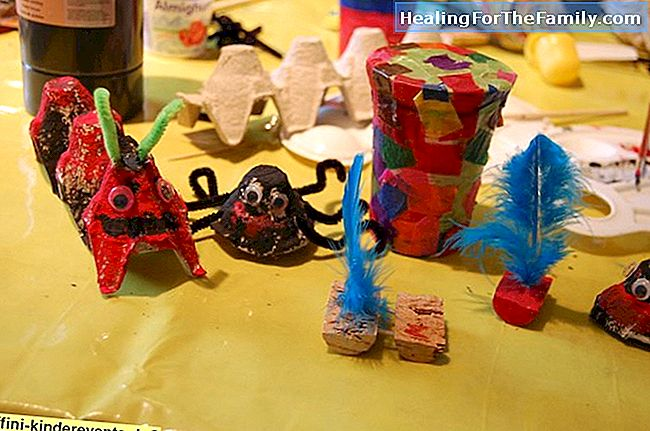 Halloween Spinne. Kinder Recycling Handwerk