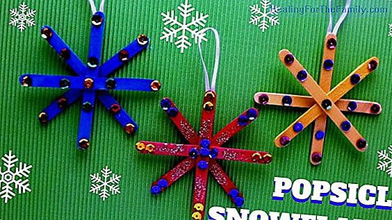 Christmas snowflake. Craft with ice cream sticks