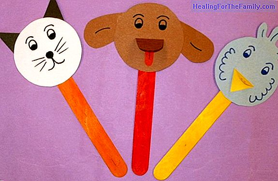 Puppets of animals with ice cream sticks. Crafts for children