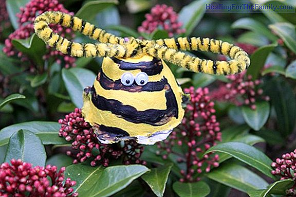 Bee with egg cups. Crafts with recycled materials for children