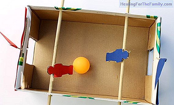 Cardboard foosball. Toy crafts for children