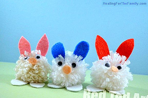 Easter rabbits made with plastic spoons for children