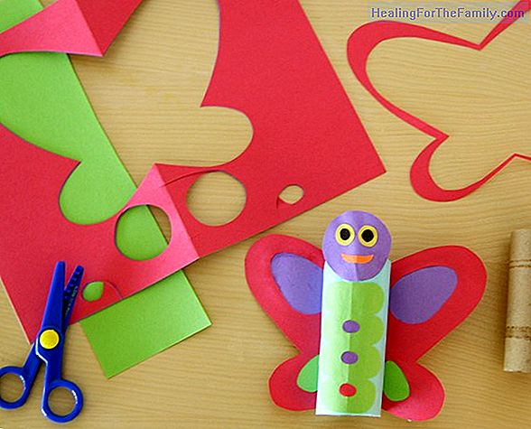 Flying bee with toilet paper roll. Children's craft
