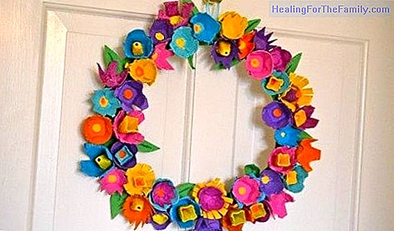 Flower frame. Crafts with egg boxes