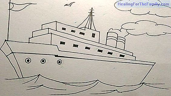 How to make, step by step, a drawing of a ship