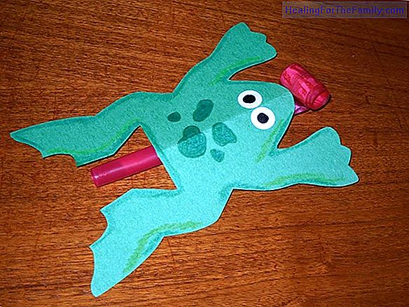 Jumping frog. Children's crafts with eggs