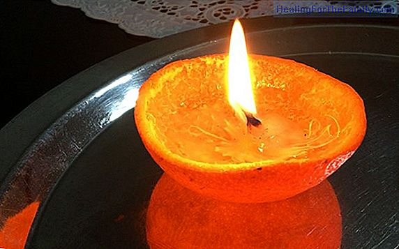 Oil candle in an orange. Experiments for children
