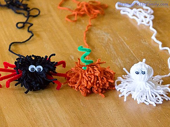 Pumpkin, bat and Halloween ghost. Crafts with pompoms